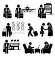 business trip businessman travel stick figure vector image vector image
