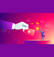 businessman with light bulb and other hand giving vector image vector image