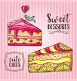 Cakes pastry and bakery background