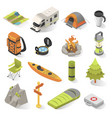 camping and travel isometric elements vector image