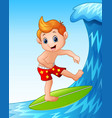 cartoon boy playing surfboard with big waves vector image