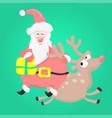 cartoon fun santa claus with christmas gift riding vector image vector image