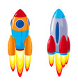 cartoon rockets spaceships set vector image