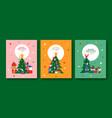 christmas flat cartoon friends pine tree card set vector image