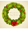 Christmas wreath postcard vector image vector image