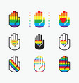 conceptual pride rianbow color hands icons set vector image