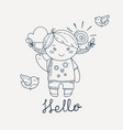 cute and happy girl say hello vector image vector image