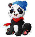 cute cartoon panda sitting wearing a red scarf and vector image vector image