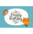 Cute happy birthday animal card vector image vector image