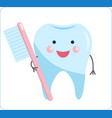 cute healthy tooth cartoon tooth character vector image vector image