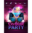Disco ball background Disco cocktail party poster vector image vector image