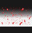 falling shiny red confetti vector image