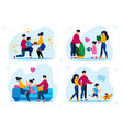 family characters life scenes flat set vector image vector image