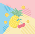 fresh pineapple and orange fruits vector image vector image
