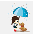 girl and puppy during the rain vector image vector image