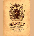 hand-drawn label for brandy with coat arms vector image
