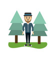 happy man with hat style and clothes vector image vector image
