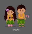 hawaiians in national dress with a flag vector image