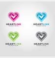 heart link logo vector image vector image