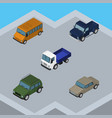 isometric transport set of auto lorry autobus vector image vector image