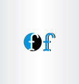 letter f blue black icon sign symbol element vector image vector image