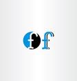 Letter f blue black icon sign symbol element