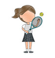 little girl playing tennis character vector image vector image