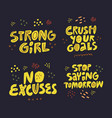 motivating slogan hand drawn flat lettering set vector image vector image