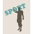 Muscular man holding sport word silhouette vector image vector image