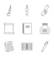 pen tools icon set outline style vector image vector image