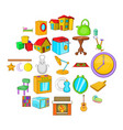 pleasant rest icons set cartoon style vector image vector image