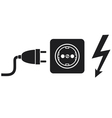 power plug power outlet and lightning symbol vector image vector image