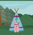rabbit cute hippie cartoon vector image vector image
