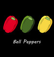 red green and yellow pepeprs vector image vector image