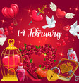 rose flowers valentines day hearts dove birds vector image