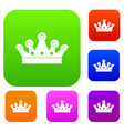 royal crown set color collection vector image vector image