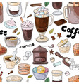 seamless pattern with different coffee drinks ant vector image vector image