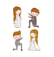 set man and woman wedding with gown and suit vector image