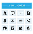 Set of 12 editable web icons includes symbols