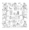 set of different funny kids icons vector image vector image
