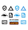 set of icons for car accident lawyer vector image