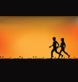 silhouettes of couple runners with beautiful sky vector image vector image