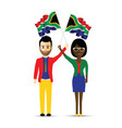 south africa flag waving man and woman vector image vector image