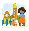 space boy children dream game cartoon vector image vector image