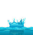 Splash and crown on rippled water surface vector image vector image