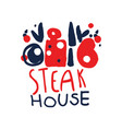steak house logo template vintage label colorful vector image