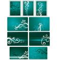 teal green background set vector image vector image
