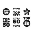 top fifty 50 black and white icon set vector image vector image