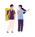 travellers couple man woman travel with backpacks vector image vector image