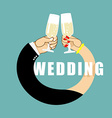 Wedding Symbol of ring from hands of newlyweds vector image
